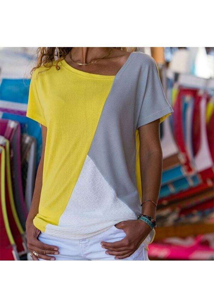 Sarı asimetrik yaka garnili tshirt