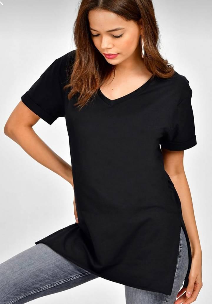 Yanları yırtmaçlı V yaka salaş tunik-bluz(siyah)