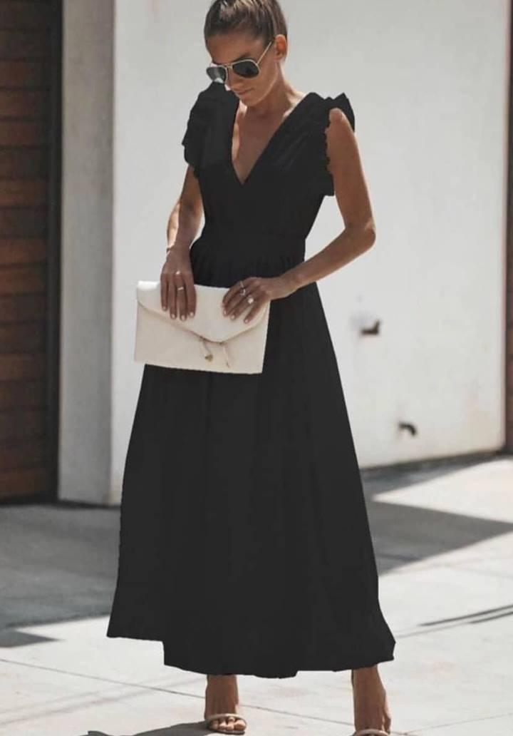 Kol detaylı V yaka tricoton elbise(siyah)