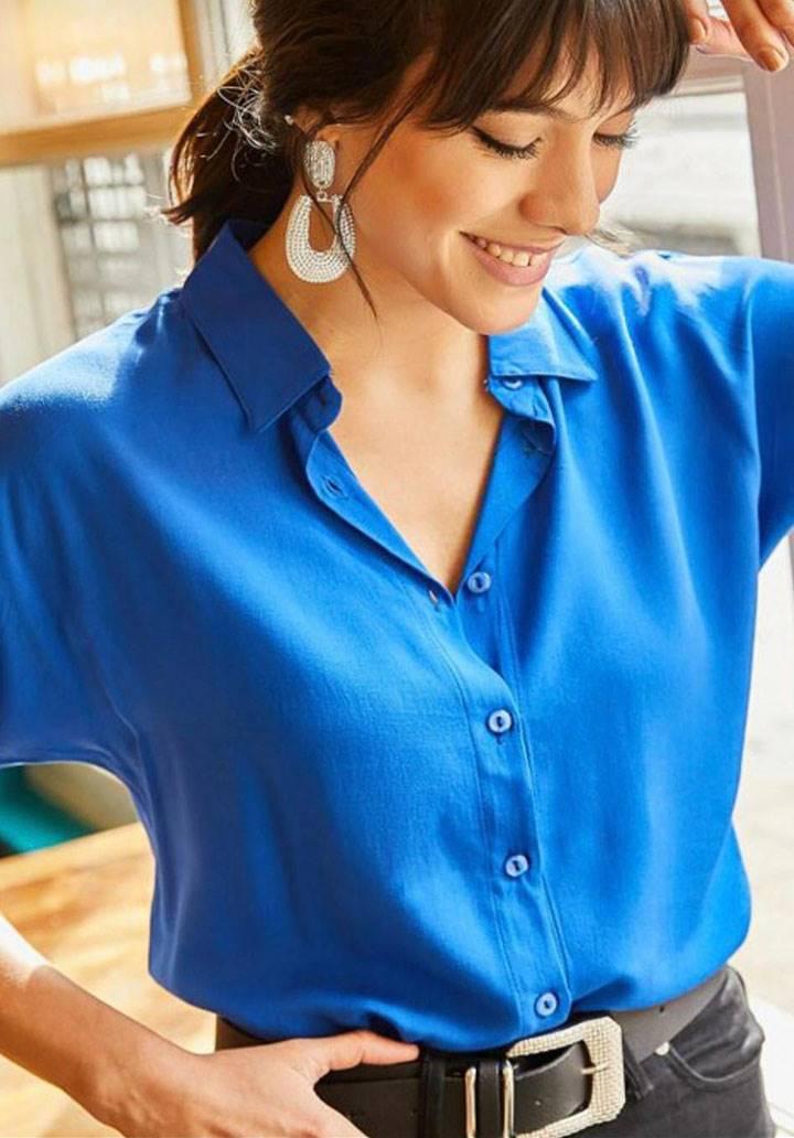 İndigo viscon basic gömlek
