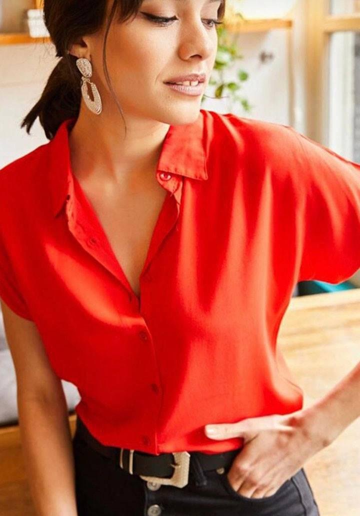 Kırmızı viscon basic gömlek