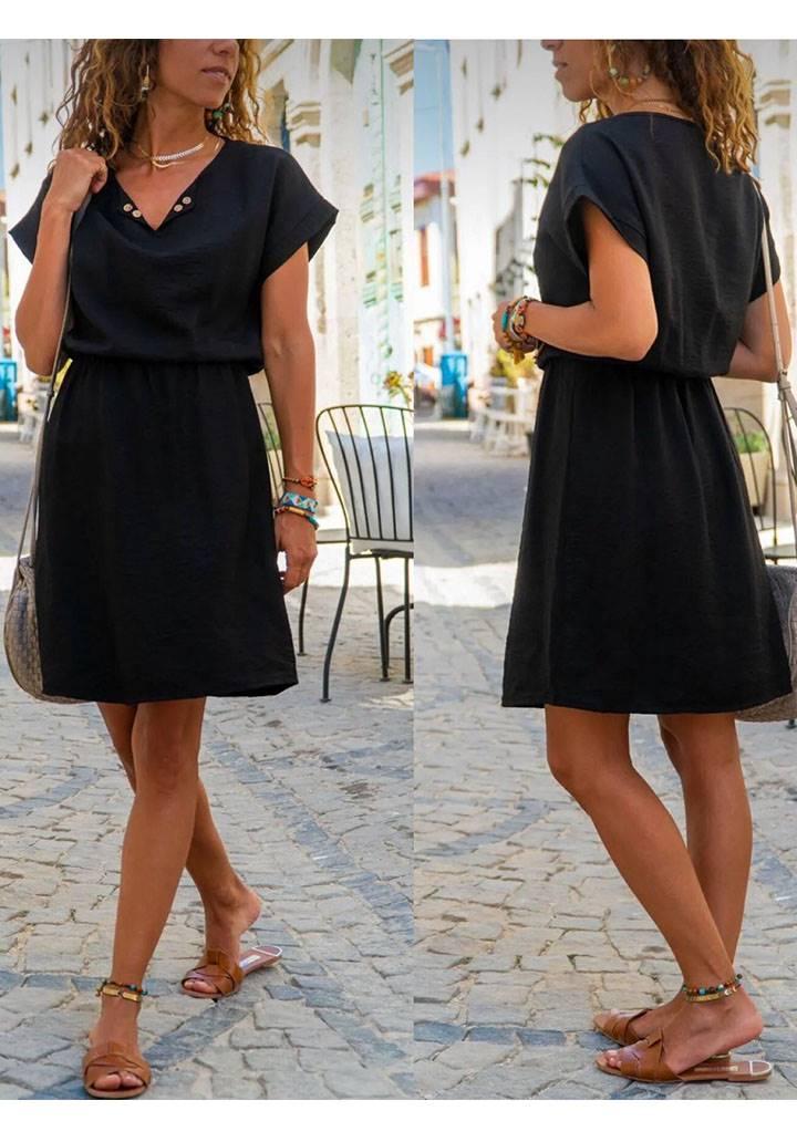 Beli büzgülü yakası yırtmaçlı elbise(siyah)
