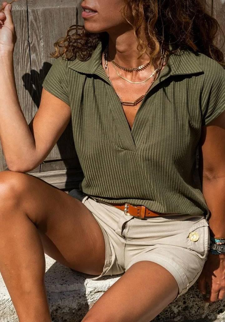 Polo yaka kaşkorse tshirt(haki)