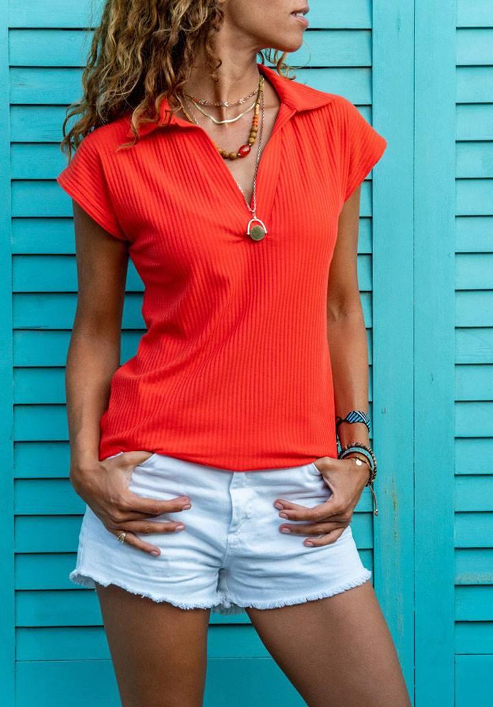 Polo yaka kaşkorse tshirt(mercan)