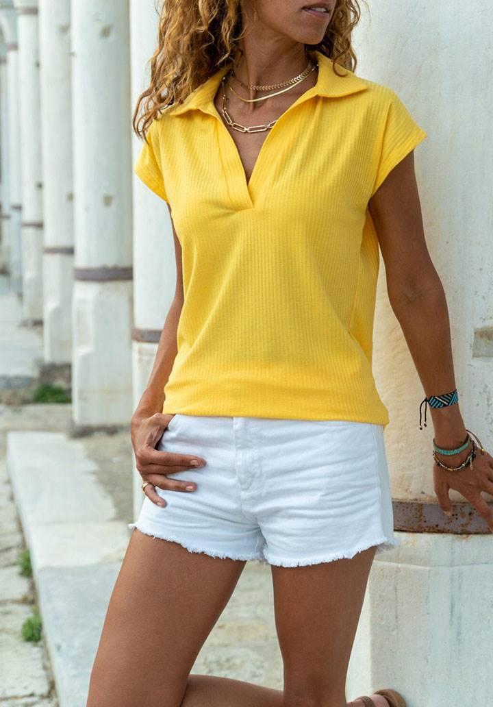 Polo yaka kaşkorse tshirt(sarı)