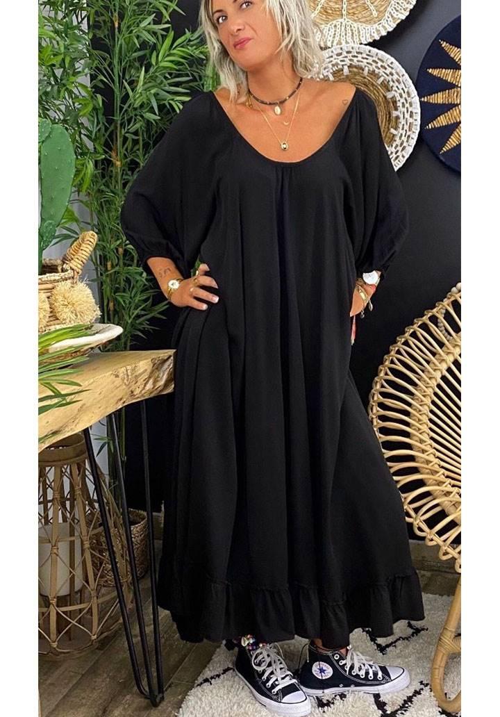 Kayık yaka eteği volanlı maxı boy elbise