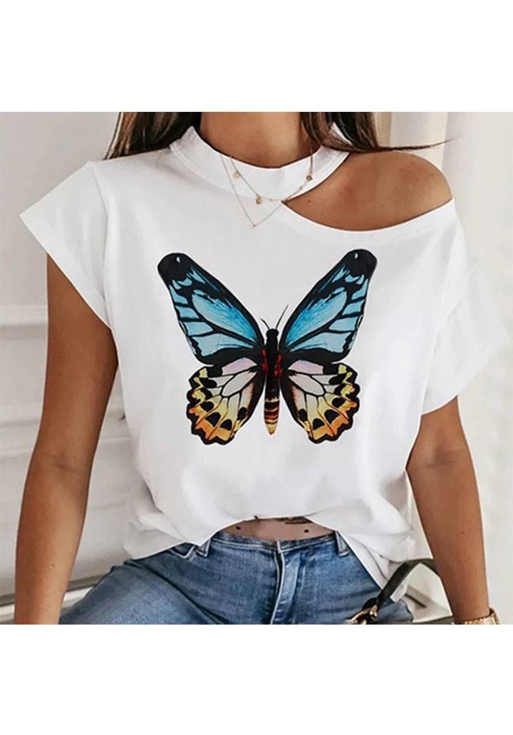 Tek omuz dekolteli kelebek desen tshırt(ekru)