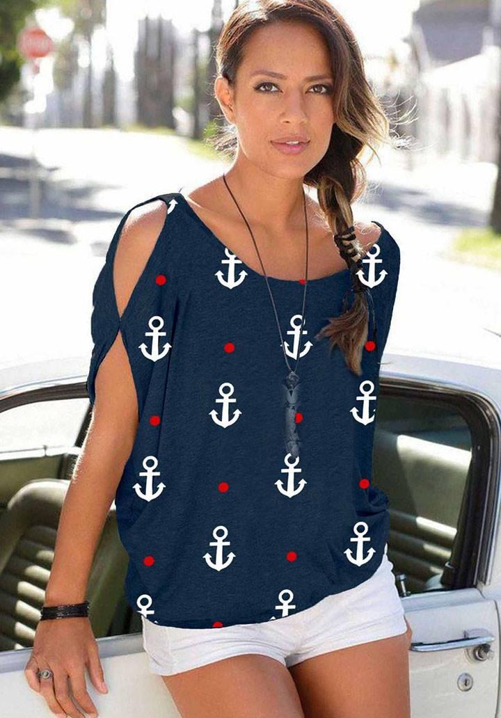Kol dekolteli kayık yaka marine bluz(lacivert)