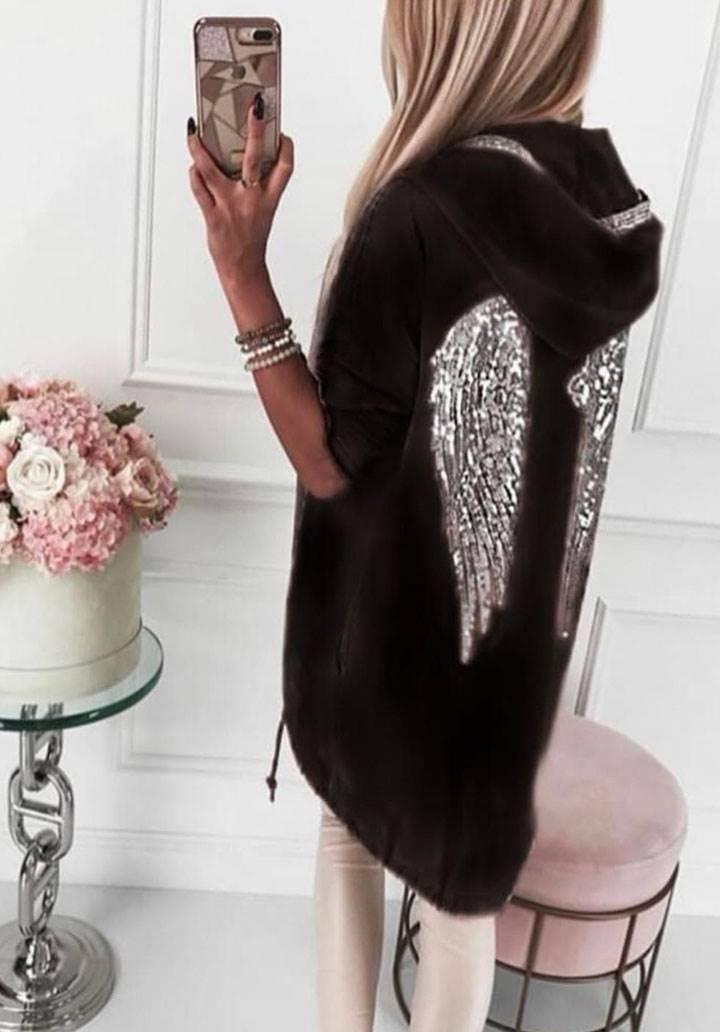 Melek kanat payet işleme kapşonlu ceket(siyah)