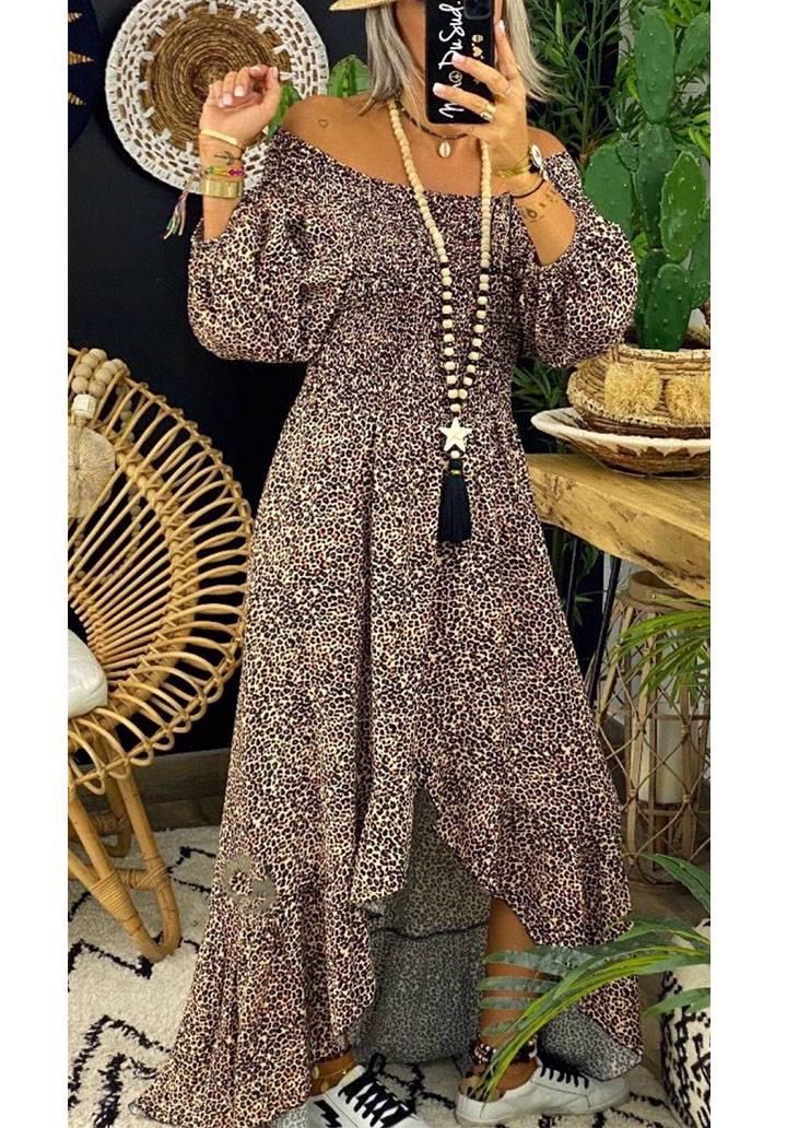 Madonna yaka gipeli leopar desen maxı boy elbise