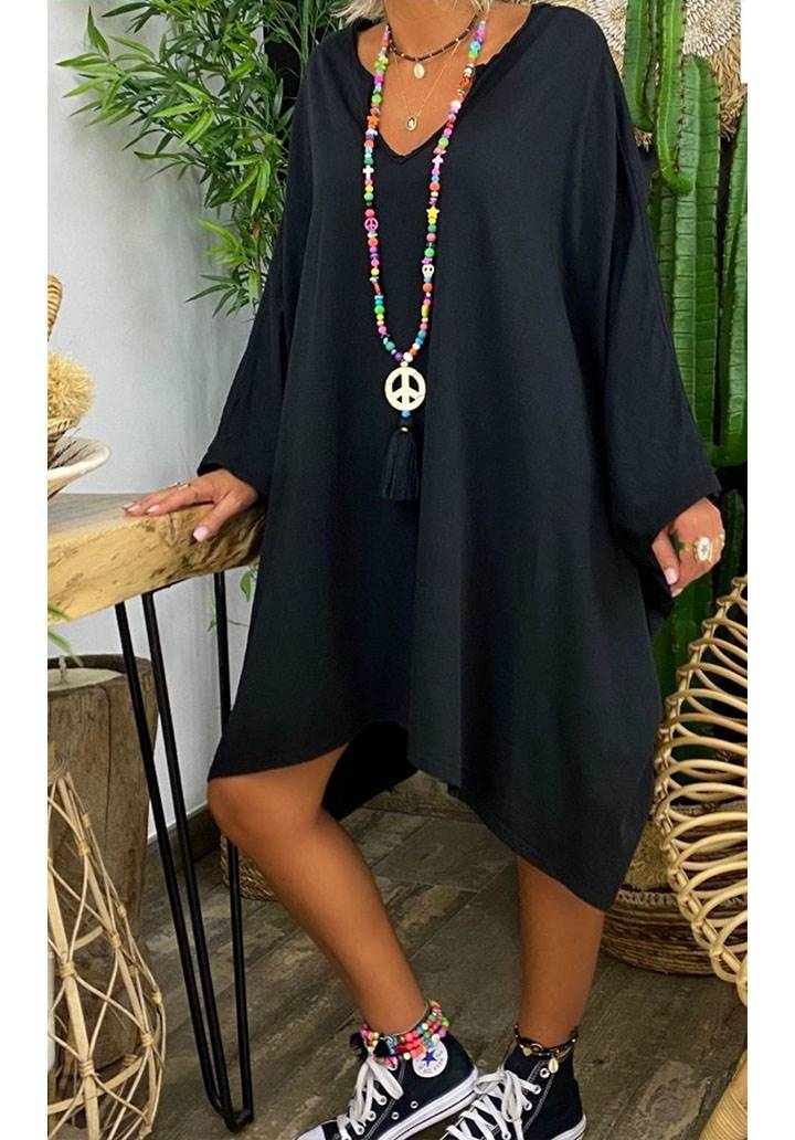 Ön arka V yaka yarasa kol salaş elbise(siyah)
