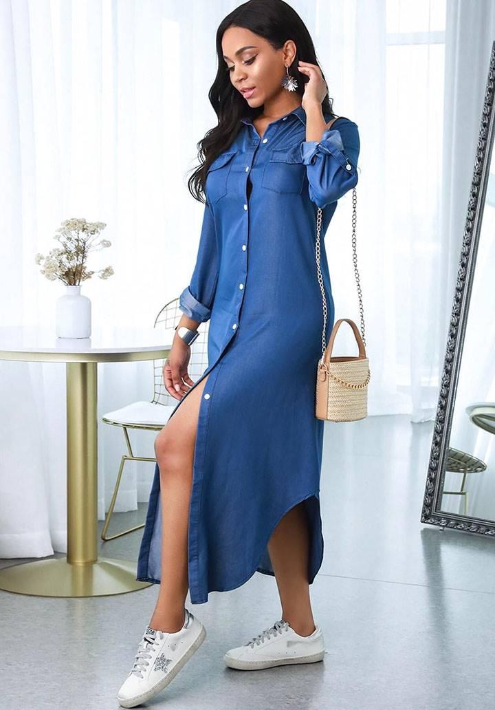 Yanları yırtmaçlı düğmeli kot elbise