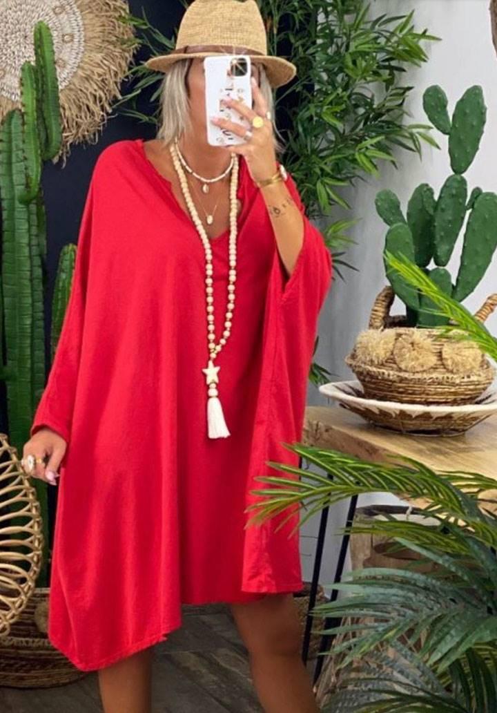 Ön arka V yaka yarasa kol salaş elbise(kırmızı)