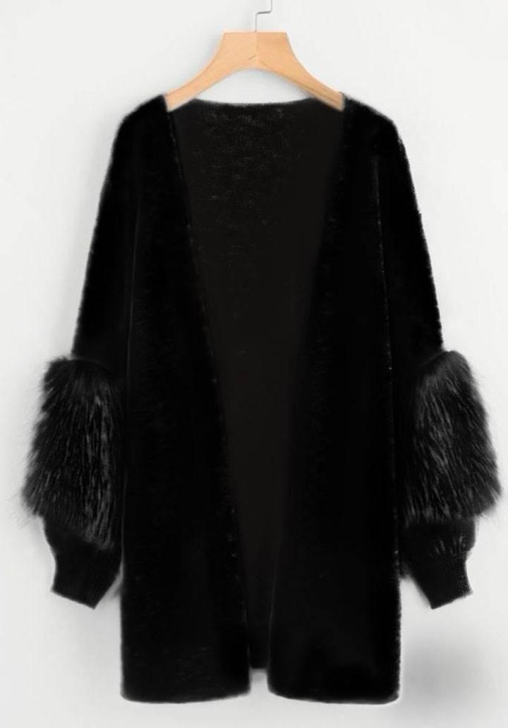 Kolları peluş zara model hırka(siyah)