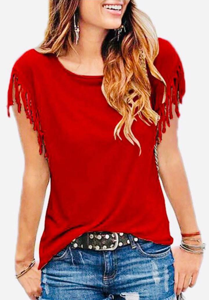 Kolları püsküllü basic tshirt(kırmızı)