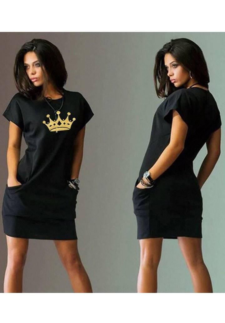 Cepli baskı detay basic elbise(siyah)