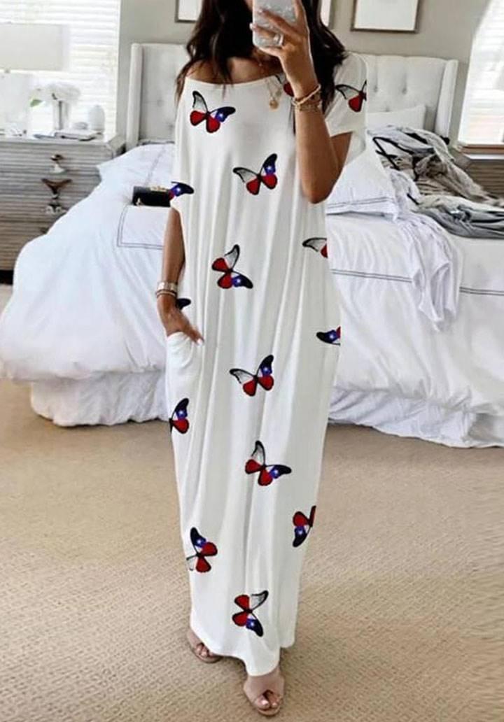 Maxı boy krep kumaş kelebek desen elbise