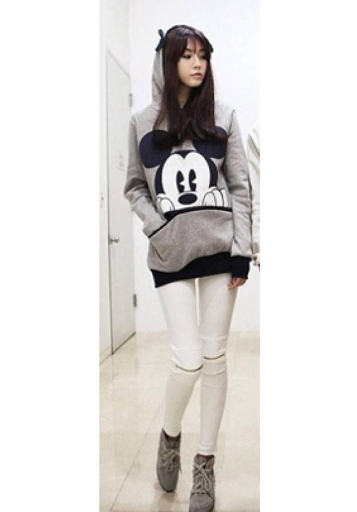 Mickey kanguru cepli kapşonlu sweatshırt(gri)