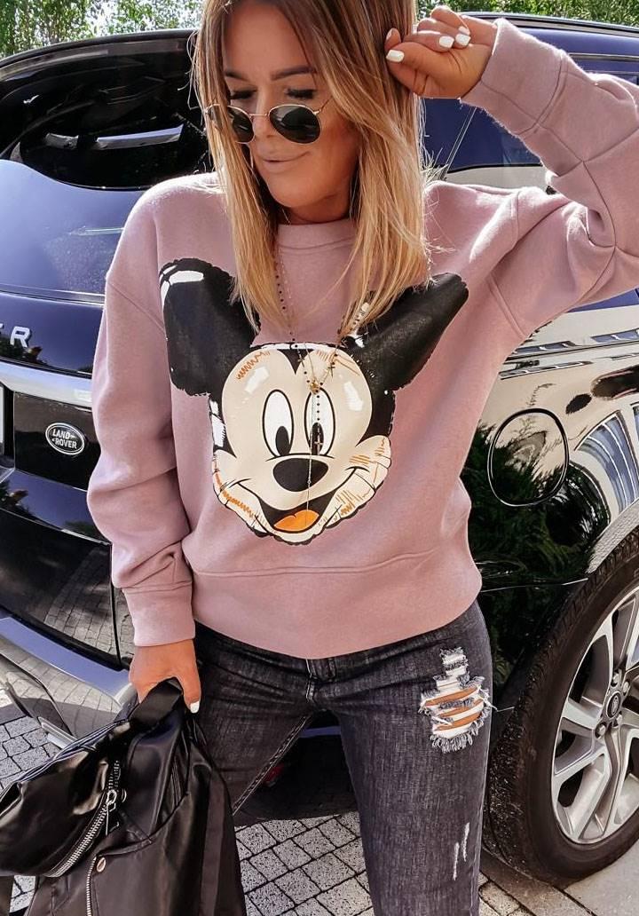 Mickey mause baskı pudra sweatshırt