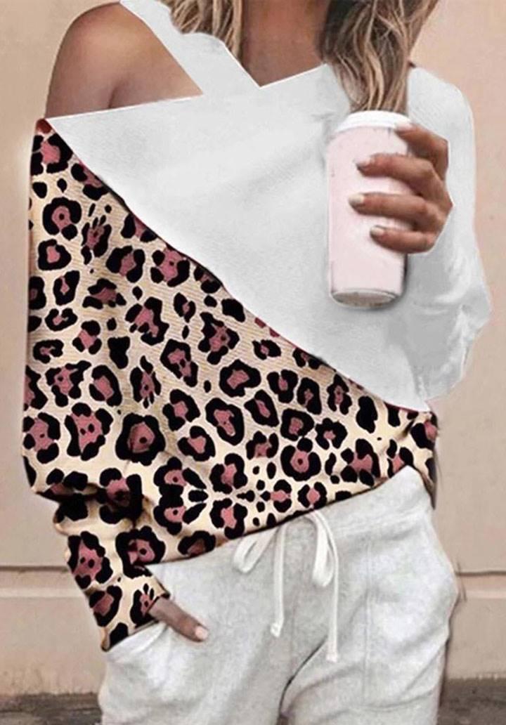 Omuz dekolteli leopar garnili bluz(beyaz)