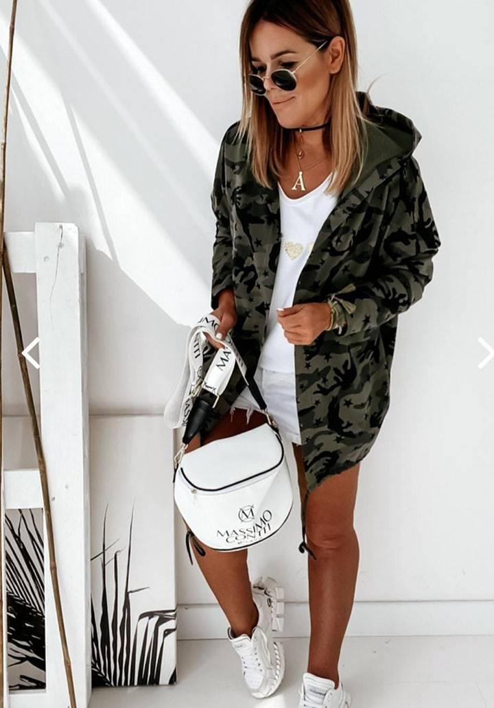 Kapşonlu kamuflaj desen iki iplik ceket