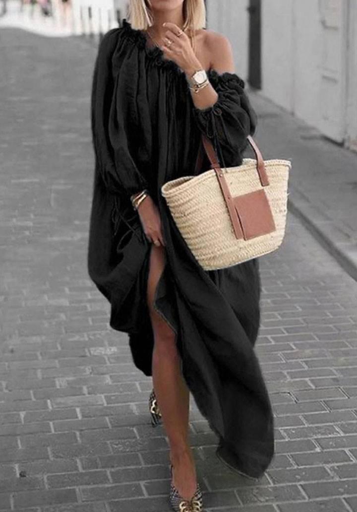 Maxı boy kol detaylı bohem elbise