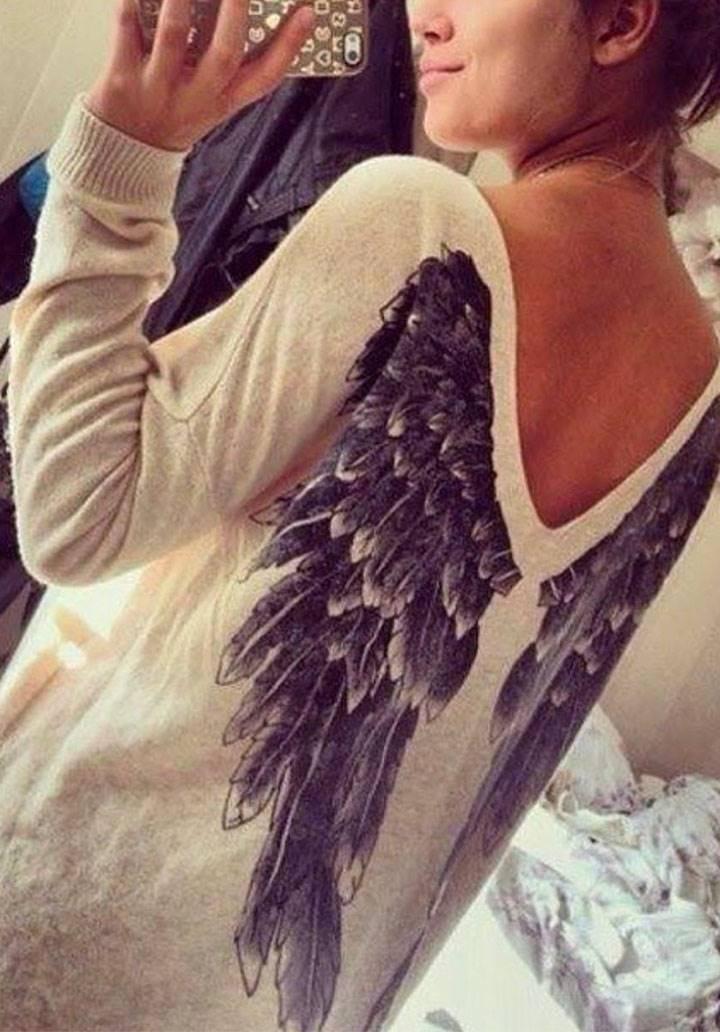 Sırt melek kanatlı triko tunik