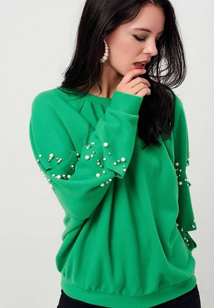 Kol dekolteli incili iki iplik sweatshırt(yeşil)