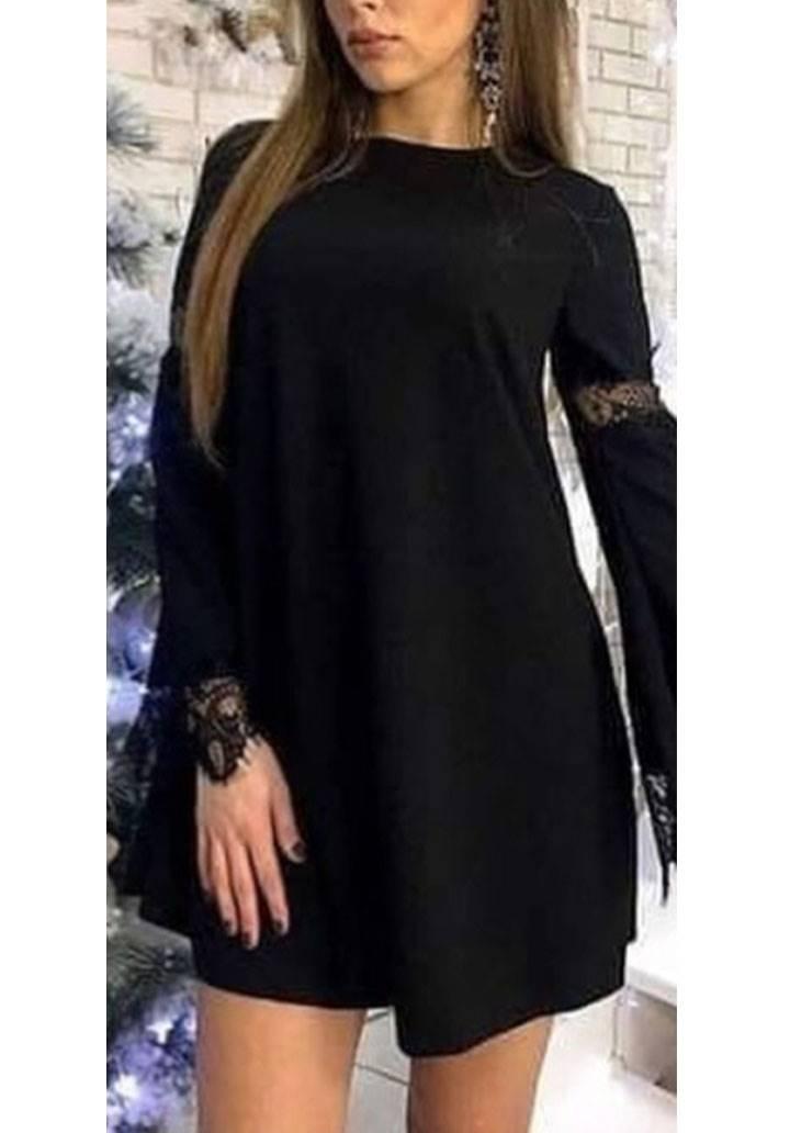 Kolları dantel detaylı kloş elbise(siyah)