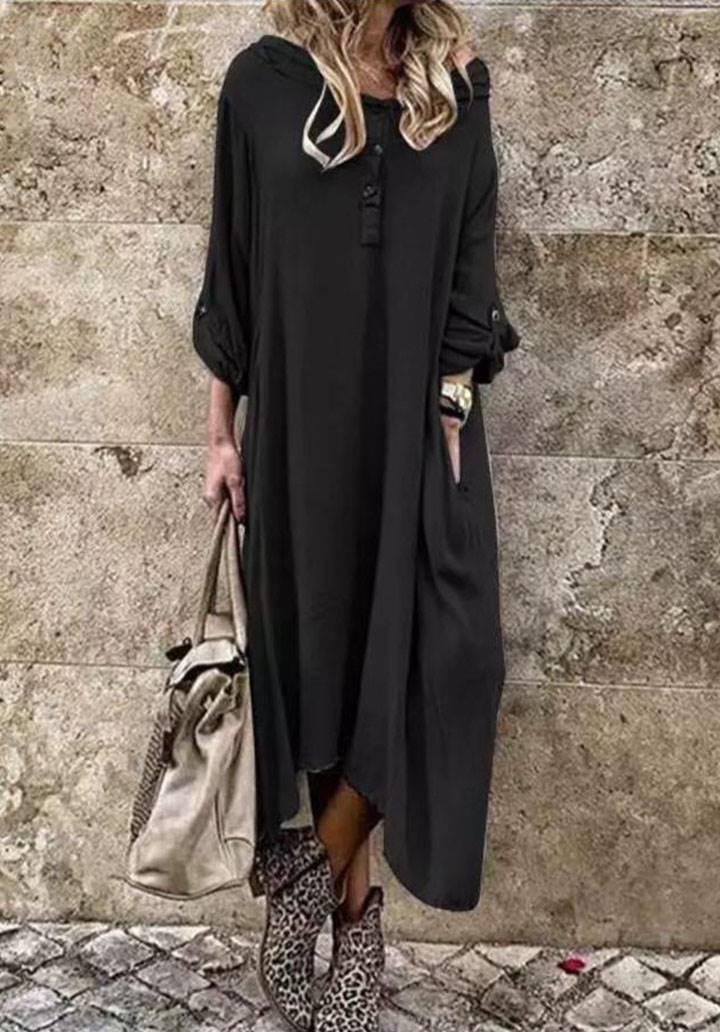 Kol düğme detaylı bohem salaş elbise(siyah)