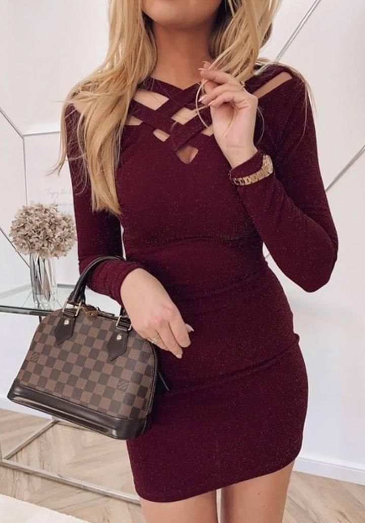 Yaka dekolteli simli tasarım elbise(bordo)