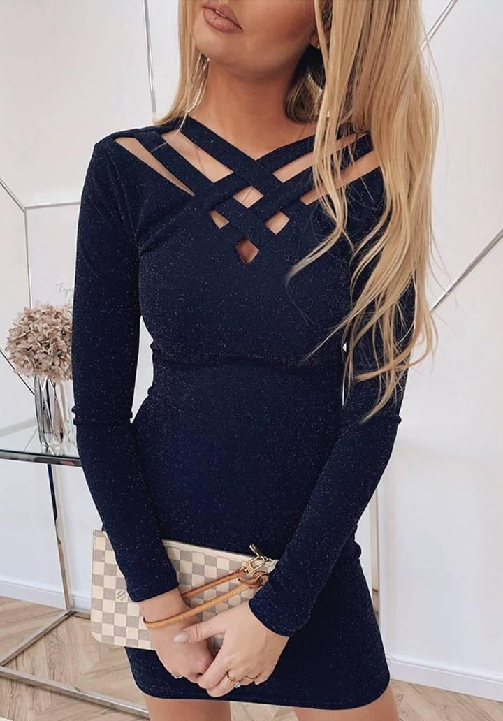 Yaka dekolteli simli tasarım elbise(lacivert)