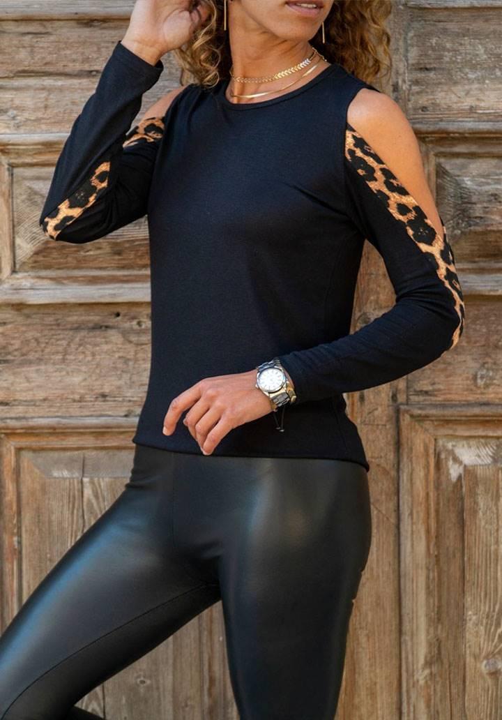 Kol dekolteli leopar detay bluz