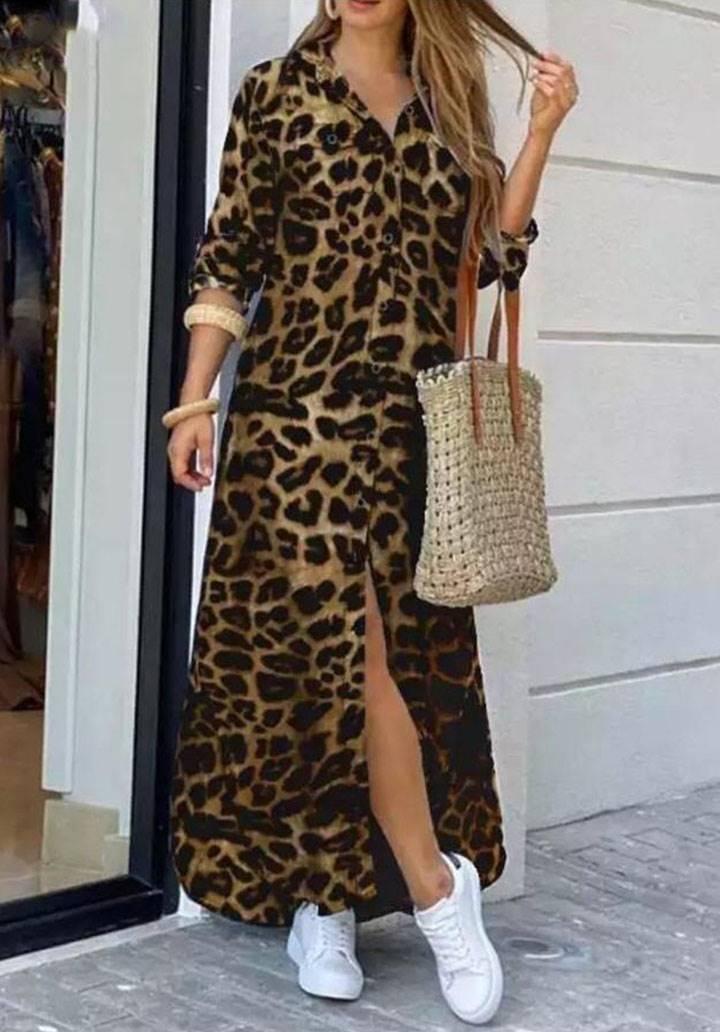 Leopar desen maxı boy gömlek elbise(vizon)