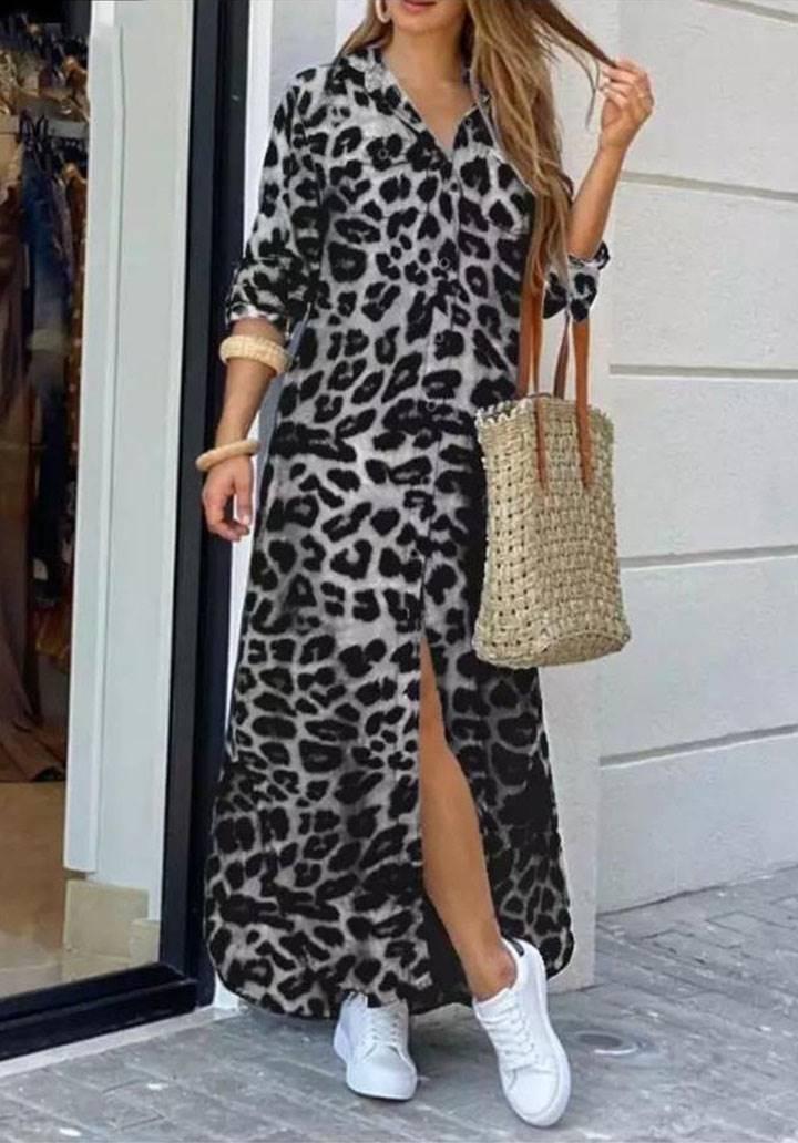 Leopar desen maxı boy gömlek elbise(gri)