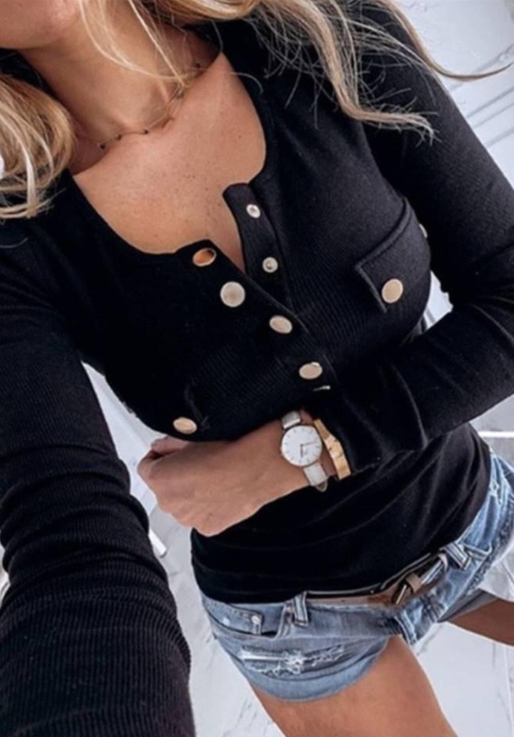 Gold düğmeli triko bluz(siyah)