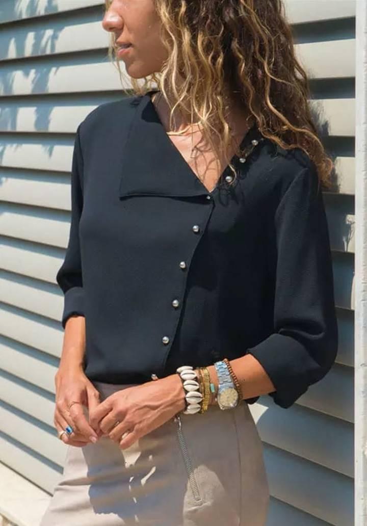 Mendil yaka dokuma gömlek(siyah)