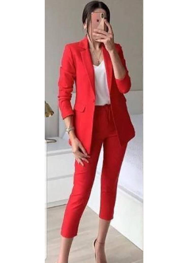 Atlas Kumaş Blazer Ceket Pantolon İkili Takım(Kırmızı)