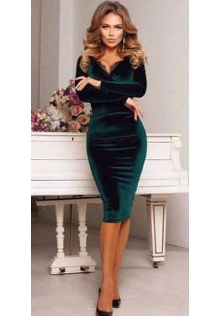 Kruvaze Yaka Gupur Detay Kalem Elbise(Yeşil)