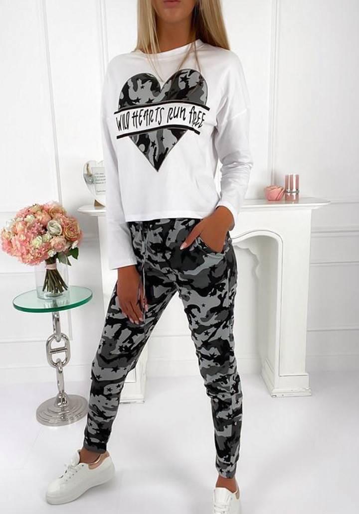 Kamuflaj desen pantolon bluz ikili takım(gri)