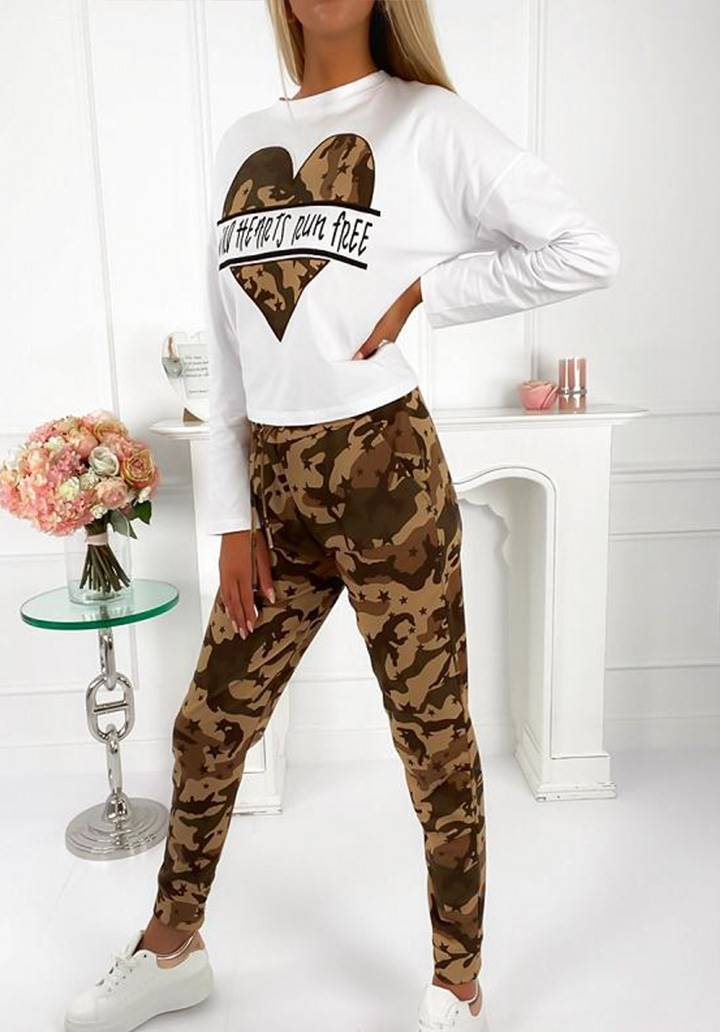 Kamuflaj desen pantolon bluz ikili takım(kahve)
