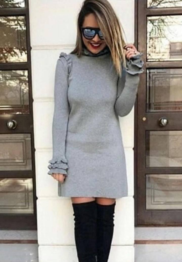 Yaka ve kol fırfır akrelik kumaş elbise(gri)
