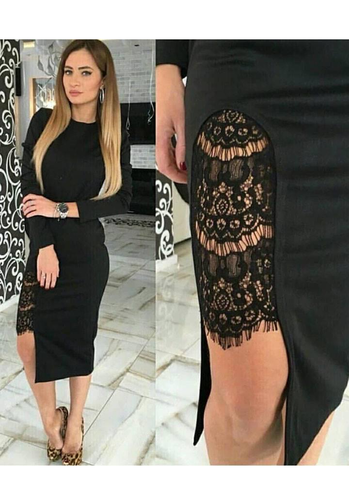 Eteği dantel detay tasarım kalem elbise
