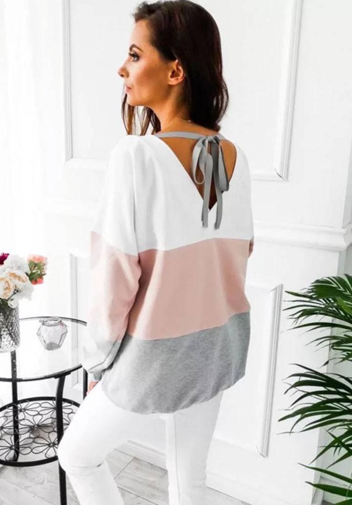Sırt dekolteli renkli bloglu bluz(pudra)
