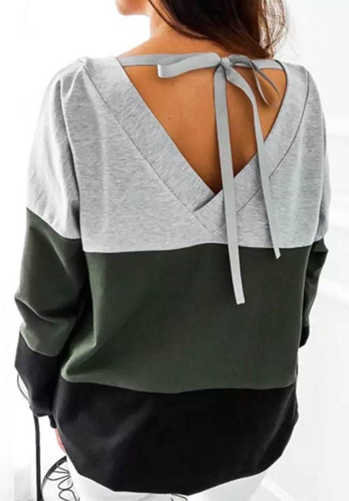 Sırt dekolteli renkli bloglu bluz(yeşil) - 1