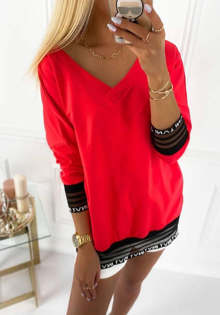 Kolları etek ucu tül şeritli V yaka bluz-tunik(kırmızı)