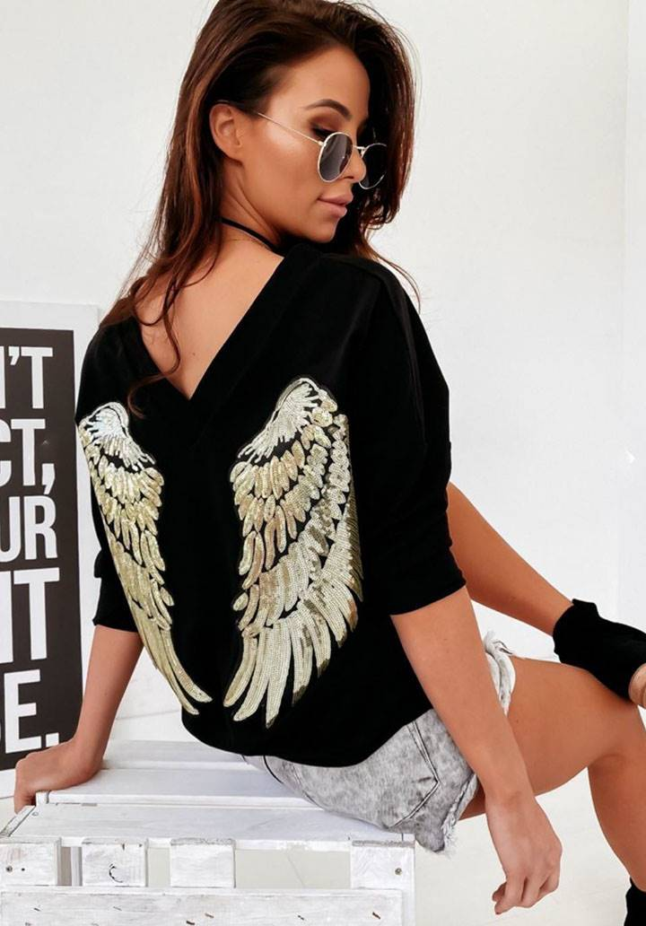 Önü arkası V yaka gold payetli angel sweatshırt(siyah)