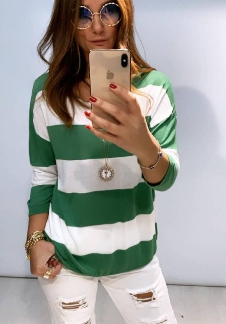 Çizgili yeni sezon salaş bluz(yeşil)