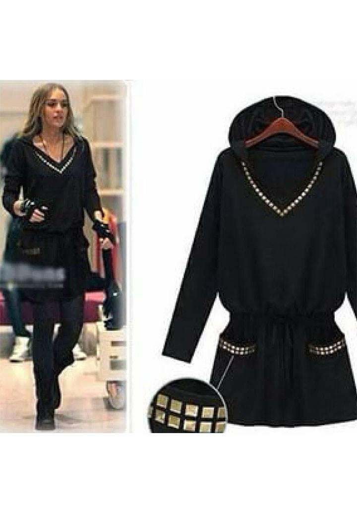 Siyah yaka cepler droplu kapşonlu elbise