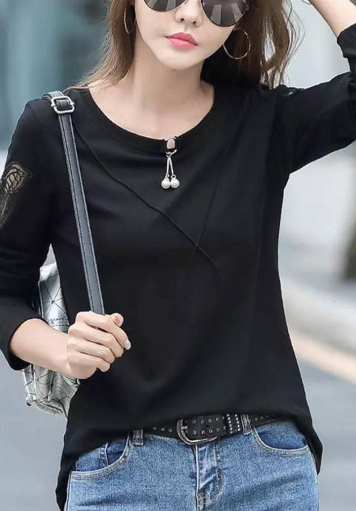 Kolları kelebek nakış işleme inci aksesuarlı bluz(siyah) - 1